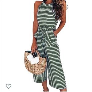 Green striped linen Jumpsuit with Pockets